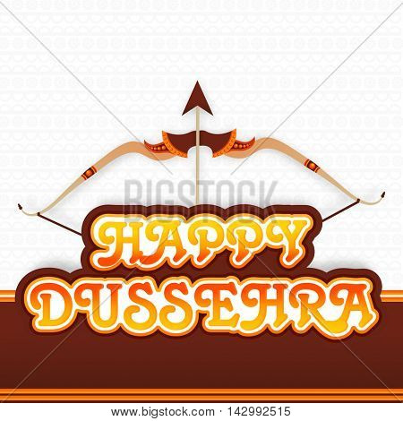 Happy Dussehra celebration background with creative Bow and Arrow, Can be used as Poster, Banner or Flyer design for Indian Festival celebration concept.