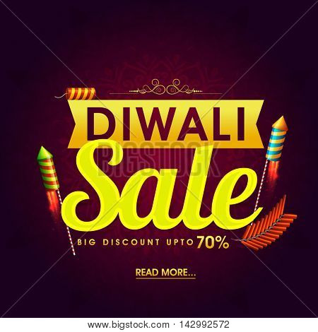Diwali Super Sale Flyer, Bumper Dhamaka Poster, Clearance Offer Banner, Discount Upto 70% with glowing Firecrackers, Vector illustration for Indian Festival of Lights Celebration.