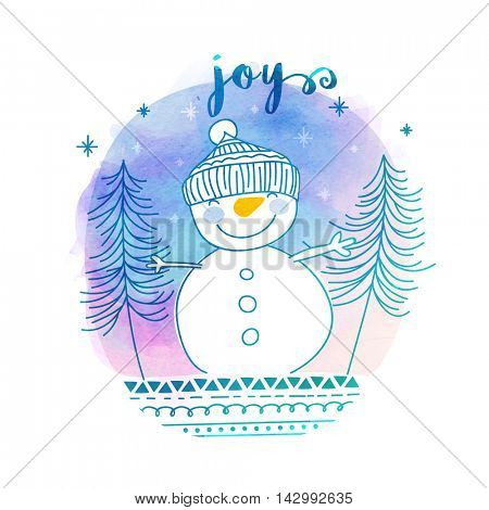 Creative winter background with cute smiling snowman, Hand drawn doodle style vector illustration, Concept for Merry Christmas celebration.