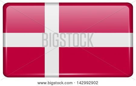 Flags Denmark In The Form Of A Magnet On Refrigerator With Reflections Light. Vector