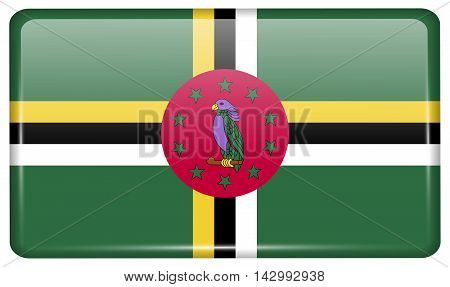 Flags Dominica In The Form Of A Magnet On Refrigerator With Reflections Light. Vector