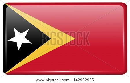 Flags East Timor In The Form Of A Magnet On Refrigerator With Reflections Light. Vector