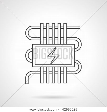 Abstract sign of pipeline or cord and power symbol. Electric heating system for warm floor. House climate technology. Flat line style vector icon.