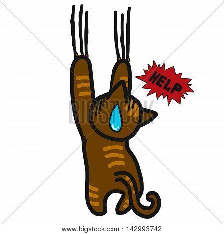 Brown cat hanging need help funny cartoon illustration