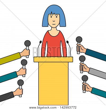 Politician or business woman giving press conference. Hands of journalists with microphones. Cartoon thin line vector illustration.