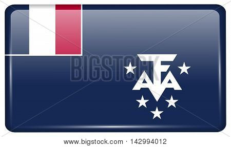 Flags French And Antarcic In The Form Of A Magnet On Refrigerator With Reflections Light. Vector