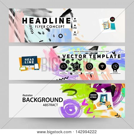 Abstract banners template with watercolor elements for business designs and backgrounds. All aquarelle elements are monochrome and easy to recolor.