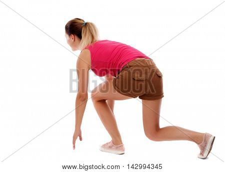 side view woman start position.  Rear view people collection.  backside view of person.  Isolated over white background. Sport blond in brown shorts in the starting position