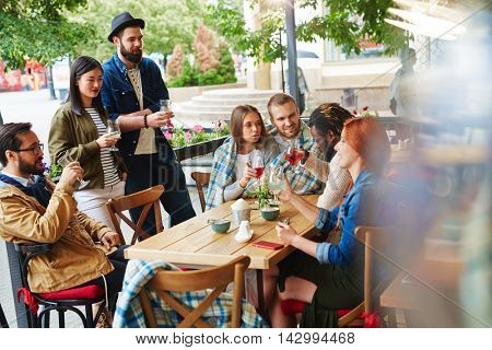 Gathering in cafe
