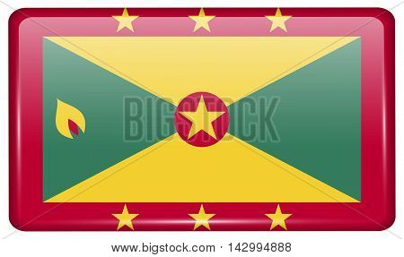 Flags Grenada In The Form Of A Magnet On Refrigerator With Reflections Light. Vector