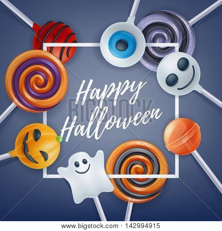 Halloween sweets colorful party background. Lollipop candy cake pops, good for holiday design. Halloween greetings.