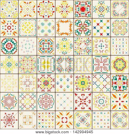 Seamless tile pattern. Colorful yellow red seamless decoration background. Square flower ornament. Oriental lisbon floor tiles decor. Portuguese flourish tile design illustration.