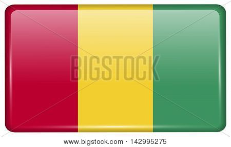 Flags Guinea In The Form Of A Magnet On Refrigerator With Reflections Light. Vector