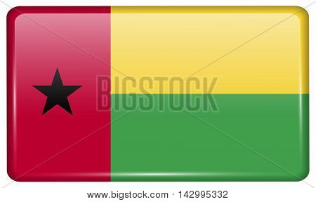 Flags Guineabissau In The Form Of A Magnet On Refrigerator With Reflections Light. Vector