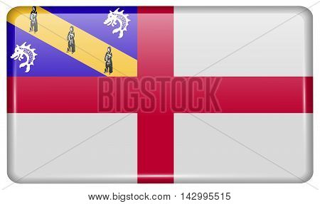 Flags Herm In The Form Of A Magnet On Refrigerator With Reflections Light. Vector