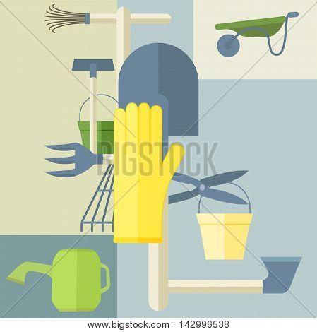 Gardening tools composition. Good for poster or logo
