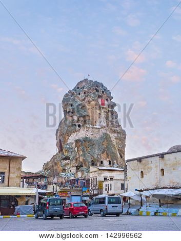 ORTAHISAR TURKEY - JANUARY 19 2015: The medieval Ortahisar castle was used as defensive fortification and nowadays it serves as the tourist landmark on January 19 in Ortahisar.