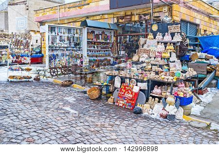 The store with the local hand made souvenirs in Uchisar Capadocia Turkey.