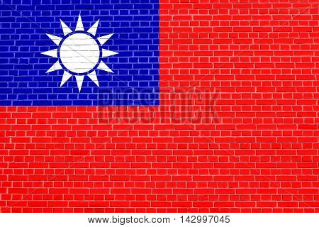 Flag of the Republic of China ROC Taiwan on brick wall texture background. The national flag of Taiwan. 3D illustration