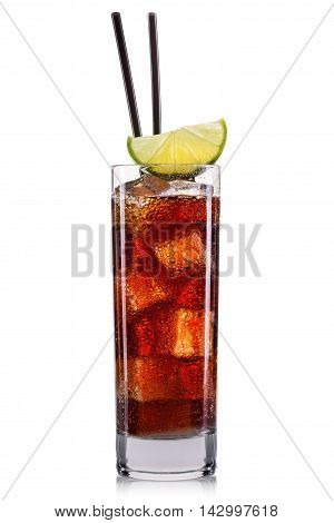 Cola cocktail ice cubes and lime, cuba libre isolated on white background.