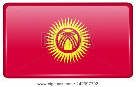 Flags Kyrgyzstan In The Form Of A Magnet On Refrigerator With Reflections Light. Vector