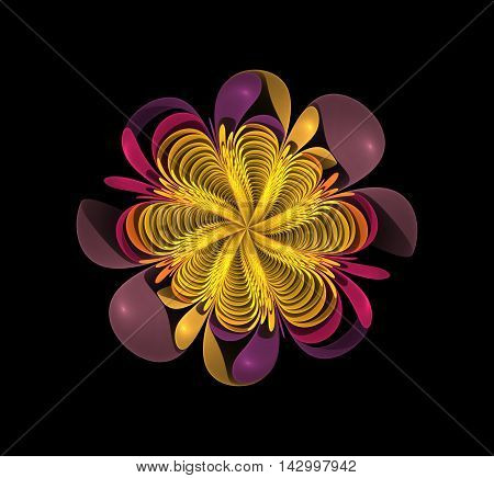 Abstract fractal colorfull flower computer generated image