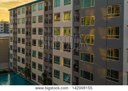 Condominium Loft Modern Apartment Living Room Sunset Time
