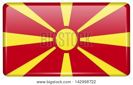 Flags Macedonia In The Form Of A Magnet On Refrigerator With Reflections Light. Vector