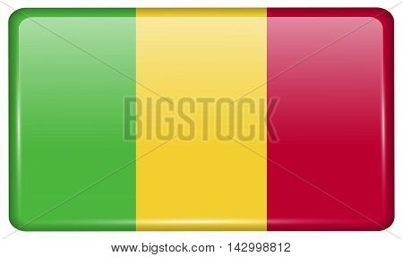 Flags Mali In The Form Of A Magnet On Refrigerator With Reflections Light. Vector
