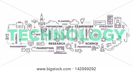 Vector creative illustration of technology word lettering typography with line icons and tag cloud on white background. Business innovation technology concept. Thin line art style design for innovation technology theme