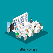 Постер, плакат: Flat 3D Isometric Abstract Office Floor Interior Departments Concept Vector Office Life Office Wo