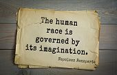 Постер, плакат: French emperor great general Napoleon Bonaparte 1769 1821 quote The human race is governed by it