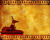 foto of anubis  - Horizontal background with Egyptian god Anubis image - JPG