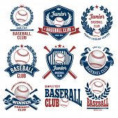 Set of Emblems, Logos and Labels on Baseball Theme and for Baseball Club. Colored Vector Illustratio poster