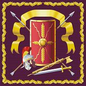 stock photo of armorial-bearings  - Background with Roman helmet, badge, sword and