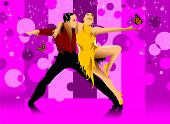 picture of waltzing  - couple participates in competitions in sport dancing  - JPG