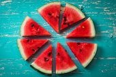 Watermelon Slice Popsicles On A Blue Rustic Wood Background, Popular Summer Fruit With Yummy Waterme poster