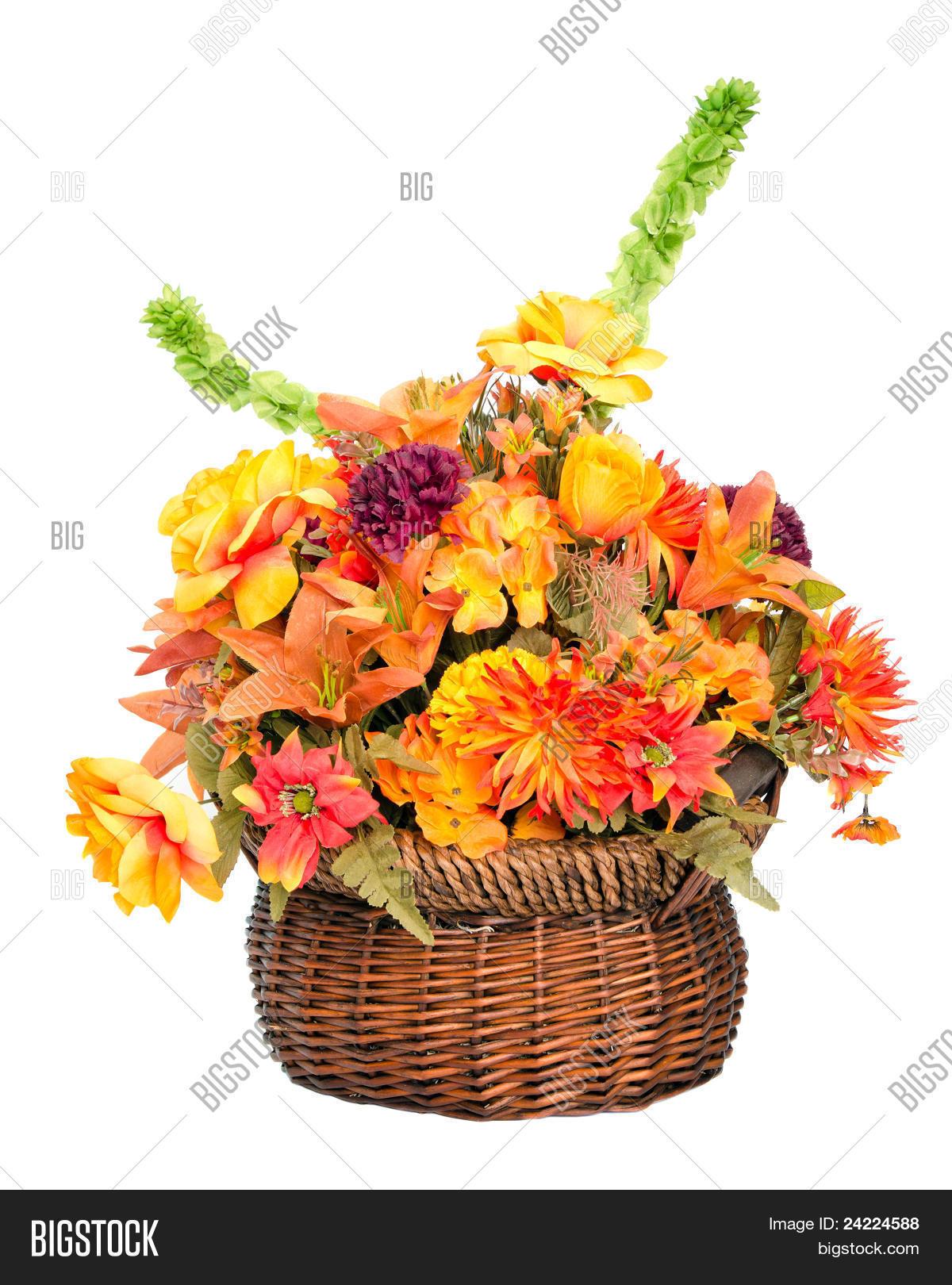 Fall Color Silk Flower Arrangement Image Photo Bigstock