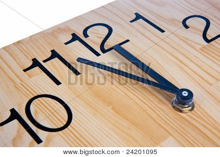 Wooden Clock Saying Five To Twelve
