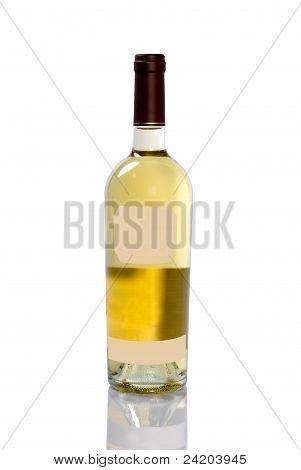 Bottle Of White Wine On White Background