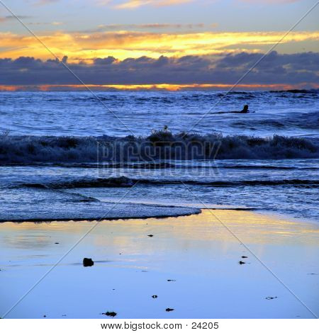 Sunset At California Beach