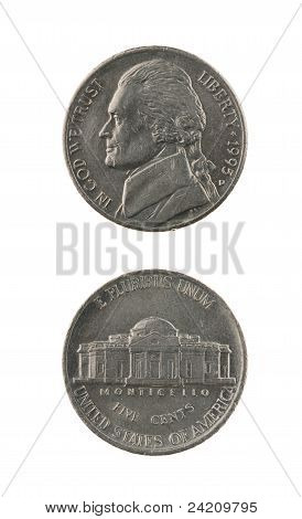 Us One Nickel Coin Isolated On White