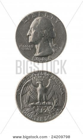 Us One Quarter Coin Isolated On White