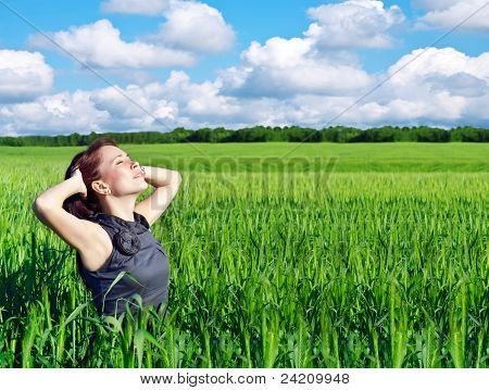 Young Woman In The Wheat Field