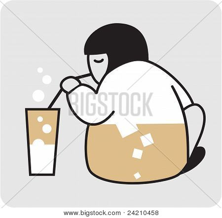 Person with the glass of milk.