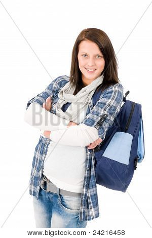 Student Teenager Happy Girl With Schoolbag