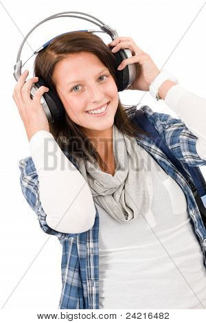 Smiling Female Teenager Enjoy Music Headphones