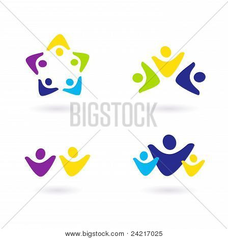 Business People And Community Icons Isolated On White..