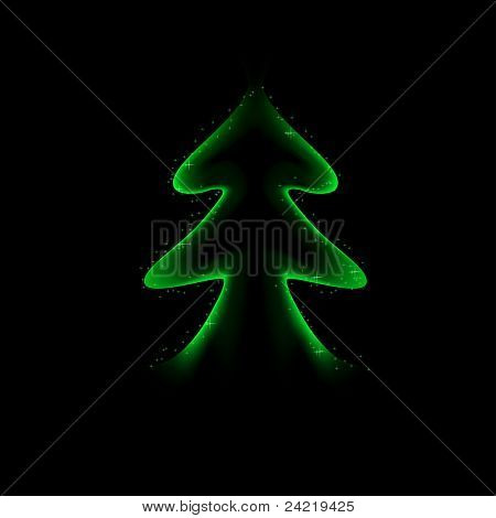 Stylized green Christmas tree on black background