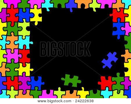 Colorful Puzzle Background With Copy Space